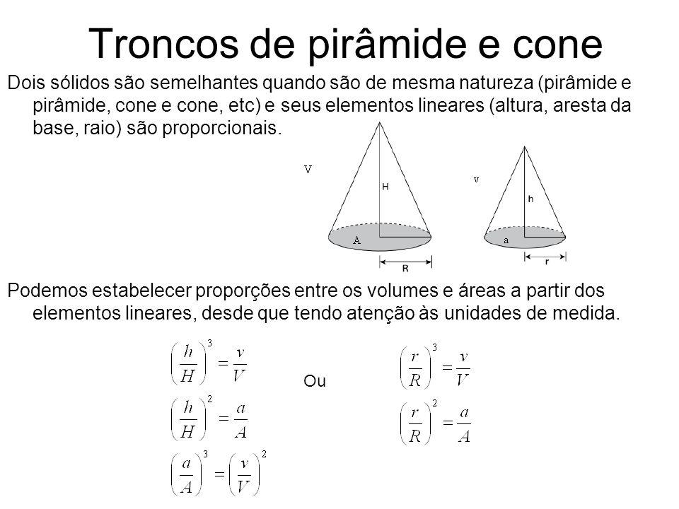 Troncos de pirâmide e cone