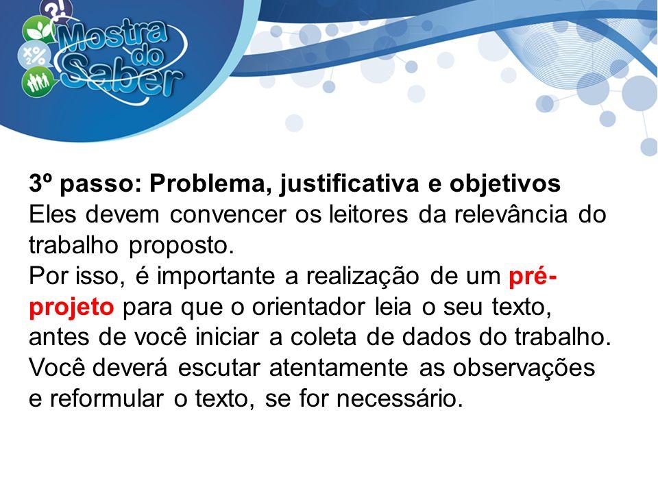 3º passo: Problema, justificativa e objetivos