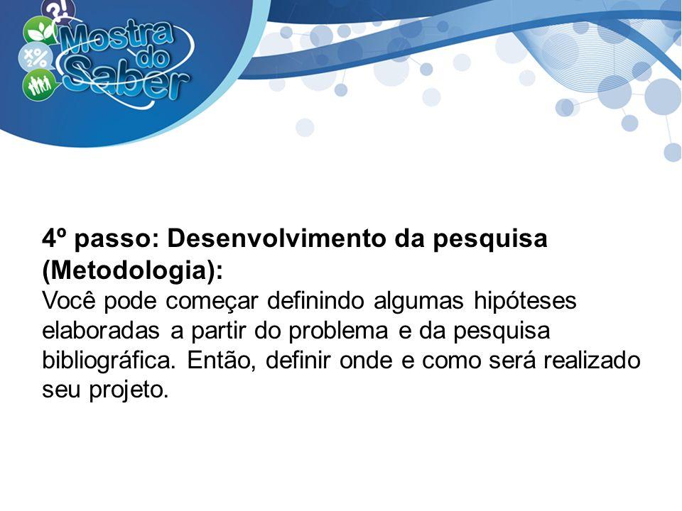 4º passo: Desenvolvimento da pesquisa (Metodologia):