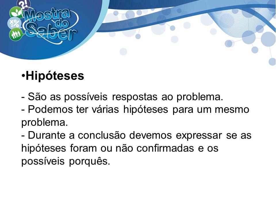 Hipóteses - São as possíveis respostas ao problema.