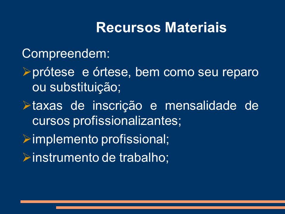 Recursos Materiais Compreendem: