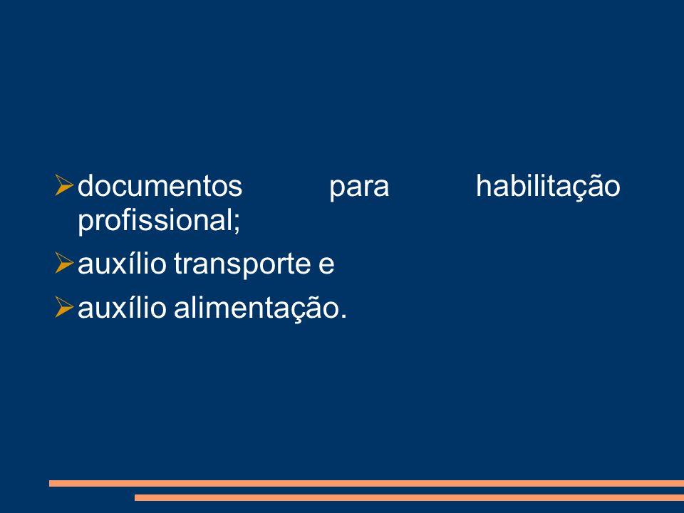documentos para habilitação profissional;