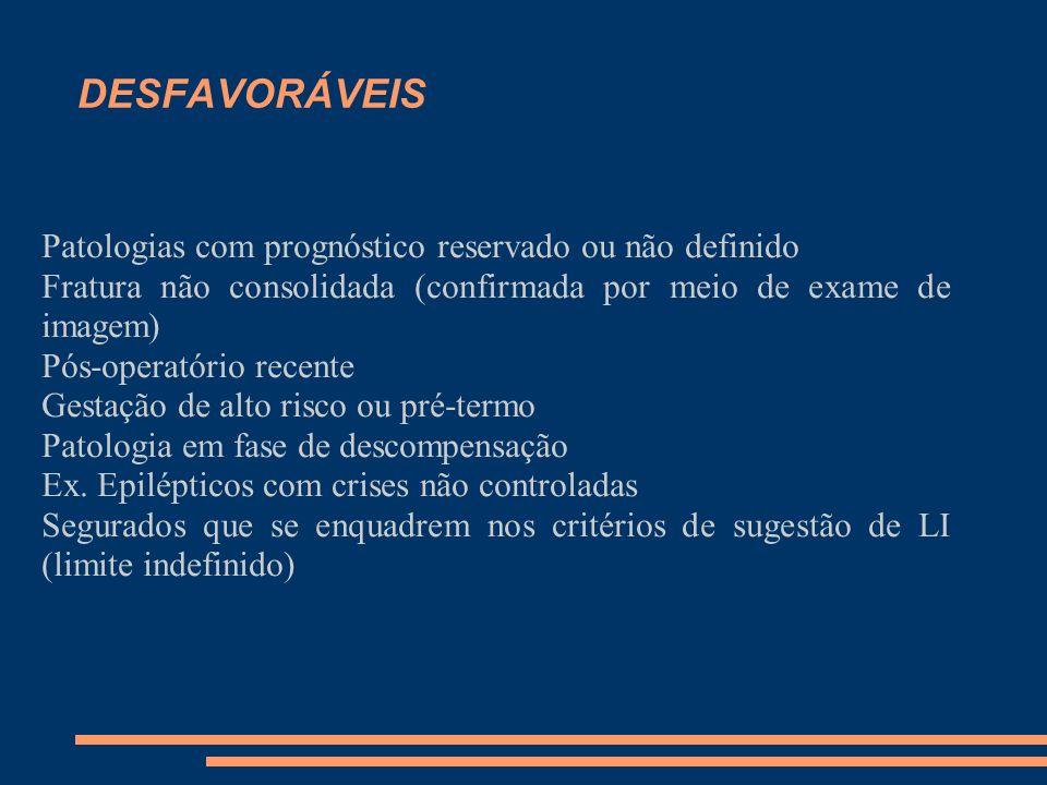 DESFAVORÁVEIS Patologias com prognóstico reservado ou não definido