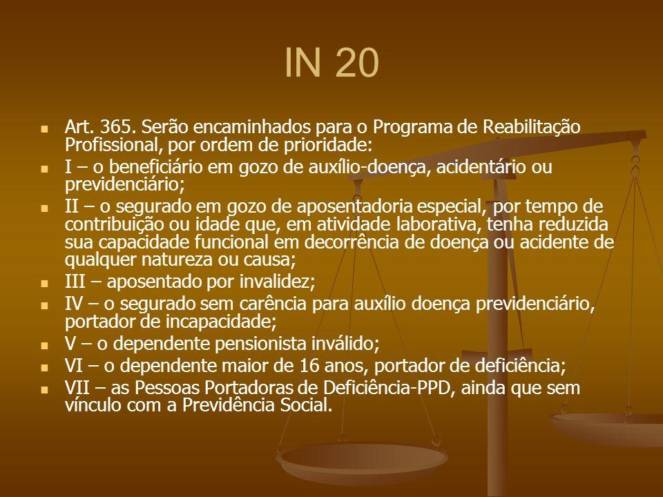 IN 20 Art. 365. Serão encaminhados para o Programa de Reabilitação Profissional, por ordem de prioridade: