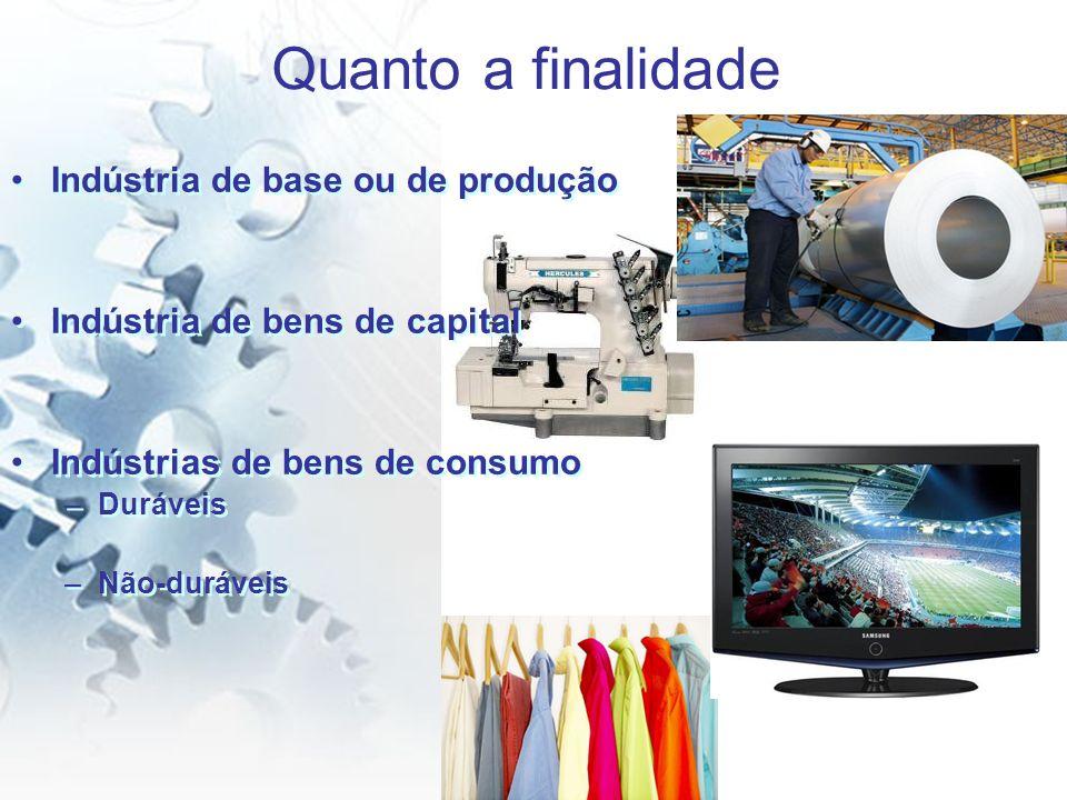Quanto a finalidade Indústria de base ou de produção