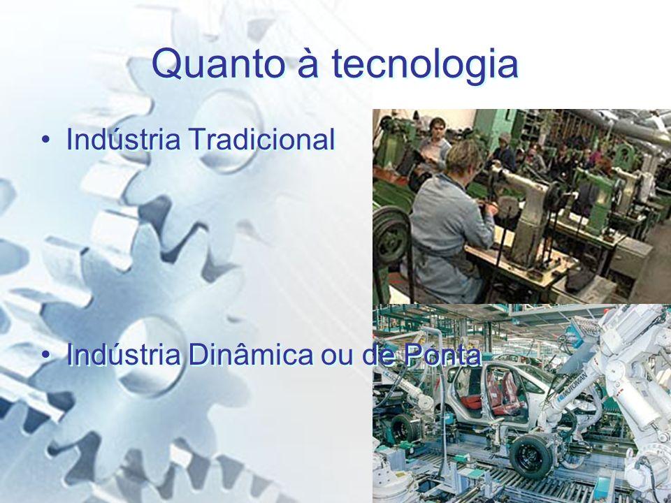 Quanto à tecnologia Indústria Tradicional
