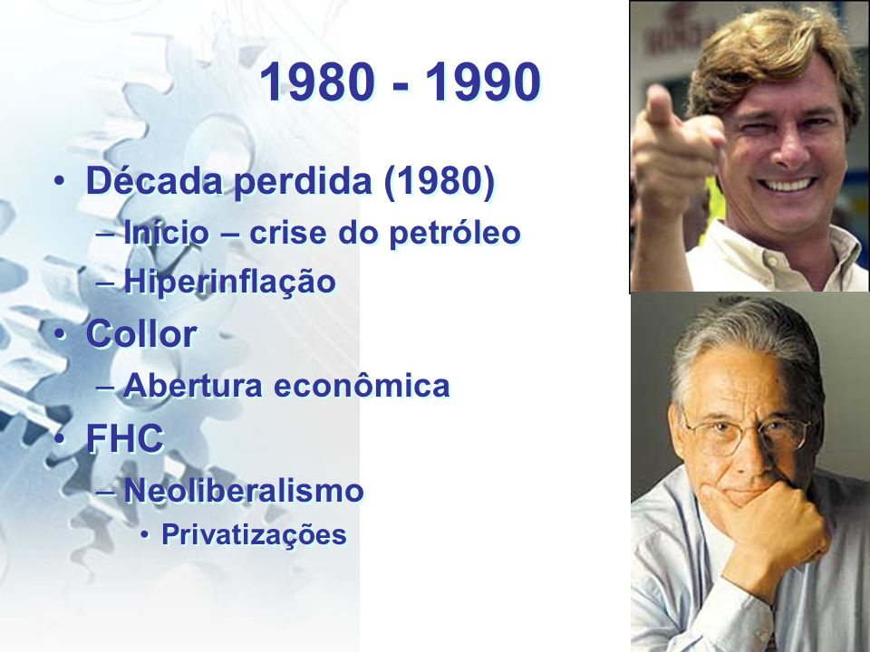 1980 - 1990 Década perdida (1980) Collor FHC