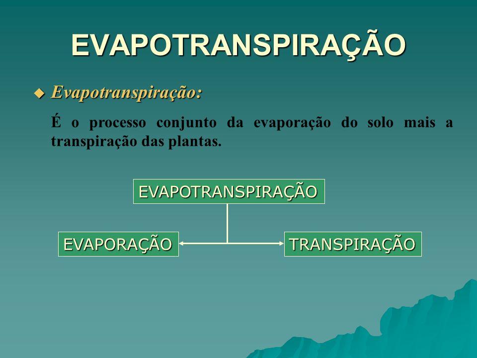 EVAPOTRANSPIRAÇÃO Evapotranspiração: