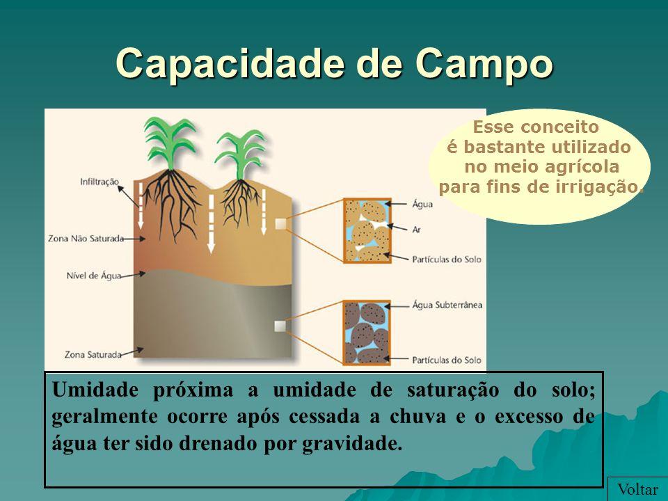 Capacidade de CampoEsse conceito. é bastante utilizado. no meio agrícola. para fins de irrigação. Nessas condições a EVT=ETP.