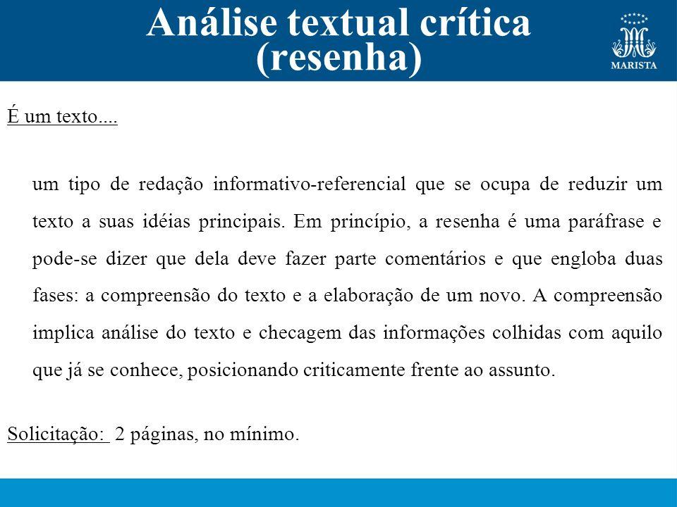 Análise textual crítica (resenha)