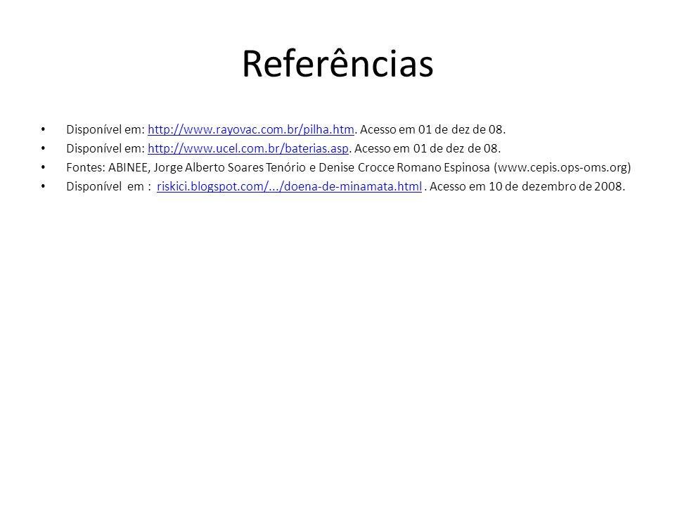Referências Disponível em: http://www.rayovac.com.br/pilha.htm. Acesso em 01 de dez de 08.