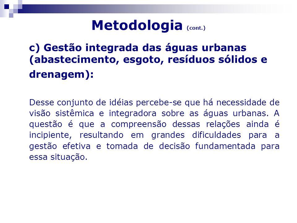 Metodologia (cont.)c) Gestão integrada das águas urbanas (abastecimento, esgoto, resíduos sólidos e drenagem):