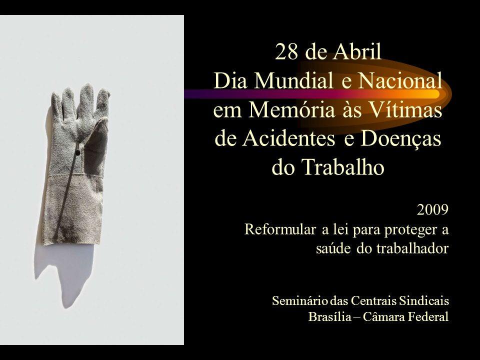 28 de Abril Dia Mundial e Nacional em Memória às Vítimas de Acidentes e Doenças do Trabalho. 2009.