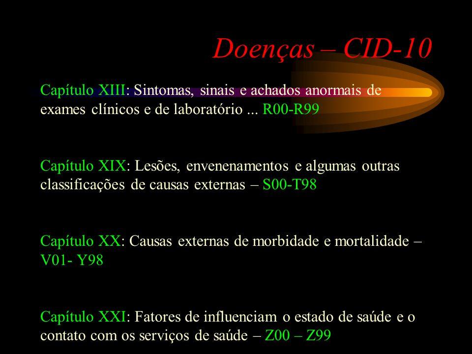 Doenças – CID-10 Capítulo XIII: Sintomas, sinais e achados anormais de