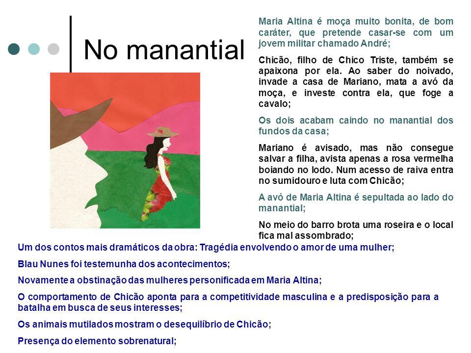 No manantial Maria Altina é moça muito bonita, de bom caráter, que pretende casar-se com um jovem militar chamado André;