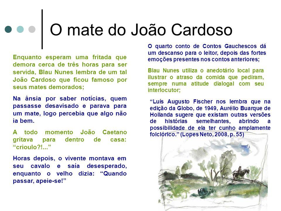 O mate do João Cardoso O quarto conto de Contos Gauchescos dá um descanso para o leitor, depois das fortes emoções presentes nos contos anteriores;