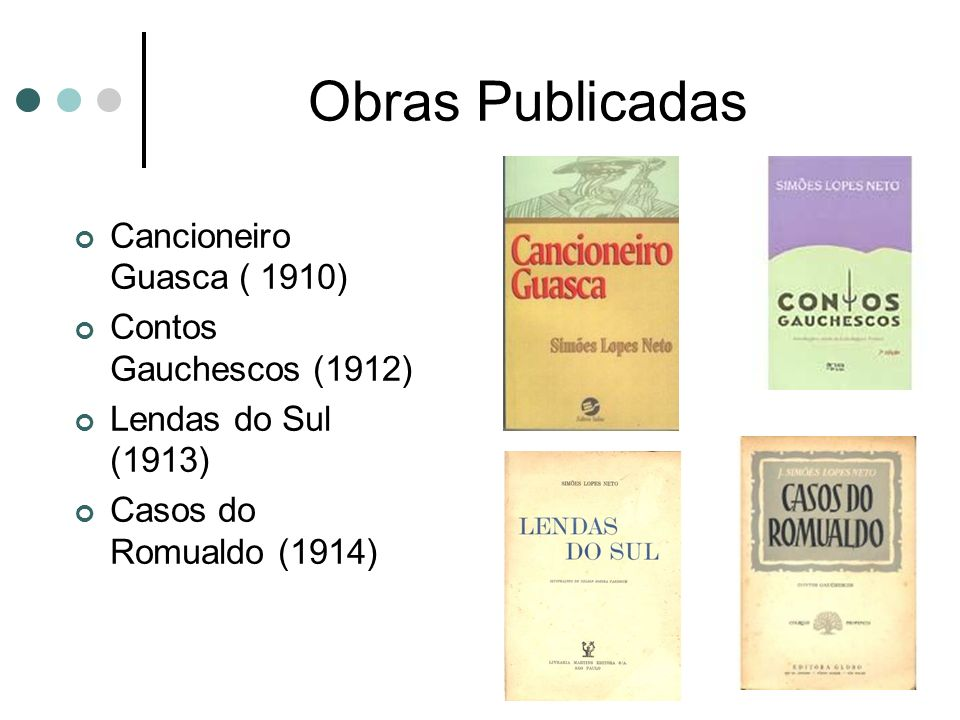 Obras Publicadas Cancioneiro Guasca ( 1910) Contos Gauchescos (1912)