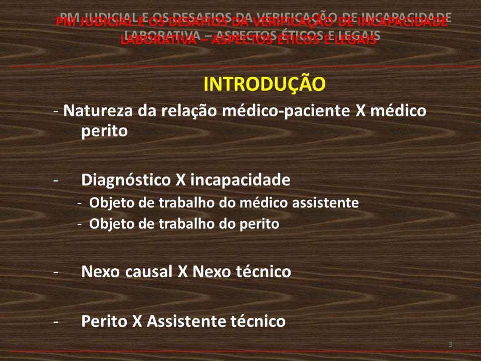 INTRODUÇÃO - Natureza da relação médico-paciente X médico perito