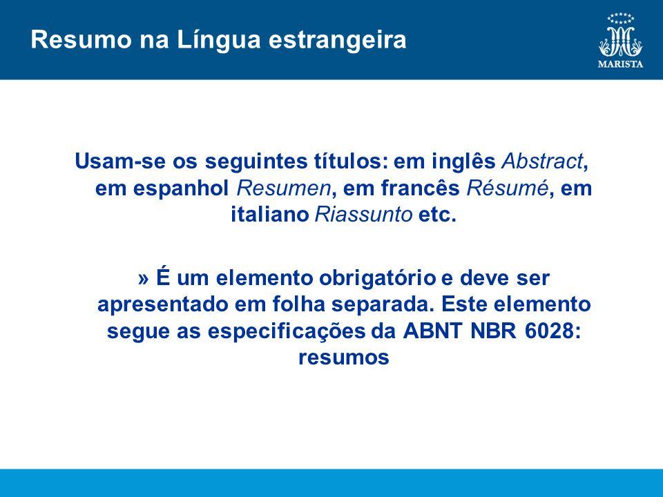 Resumo na Língua estrangeira