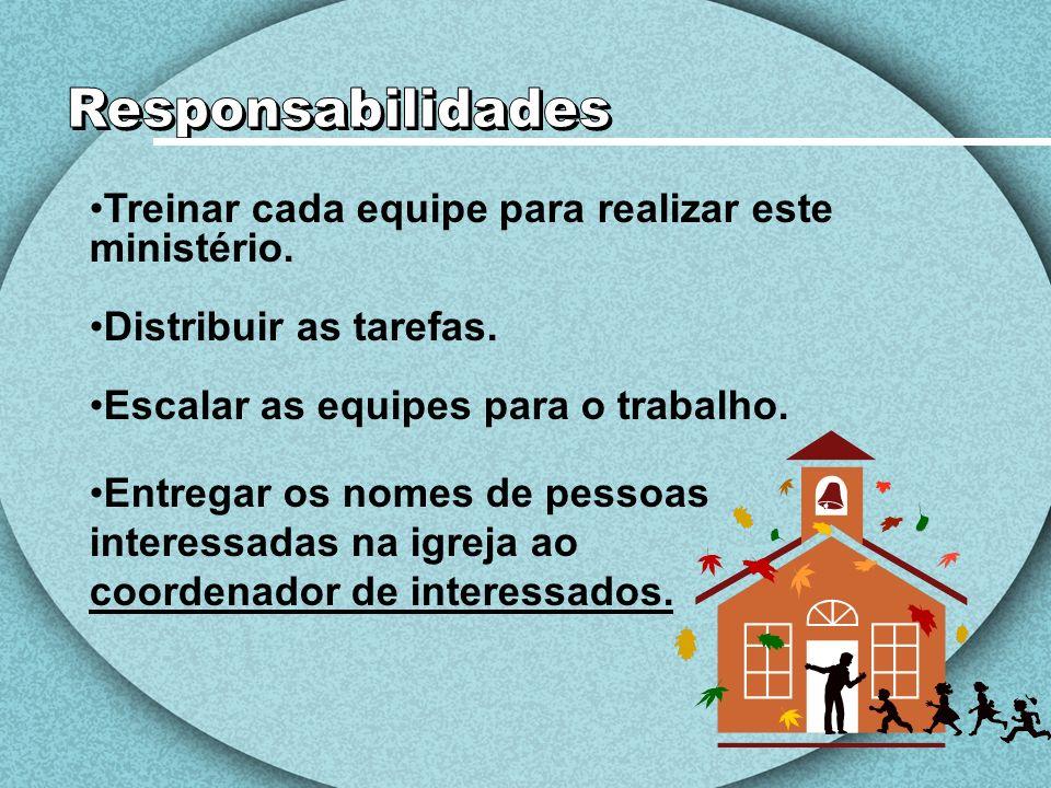 Responsabilidades Treinar cada equipe para realizar este ministério.