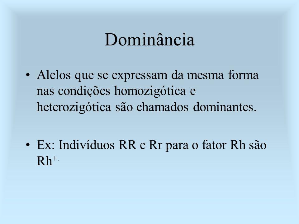 DominânciaAlelos que se expressam da mesma forma nas condições homozigótica e heterozigótica são chamados dominantes.