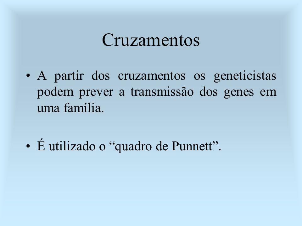 CruzamentosA partir dos cruzamentos os geneticistas podem prever a transmissão dos genes em uma família.