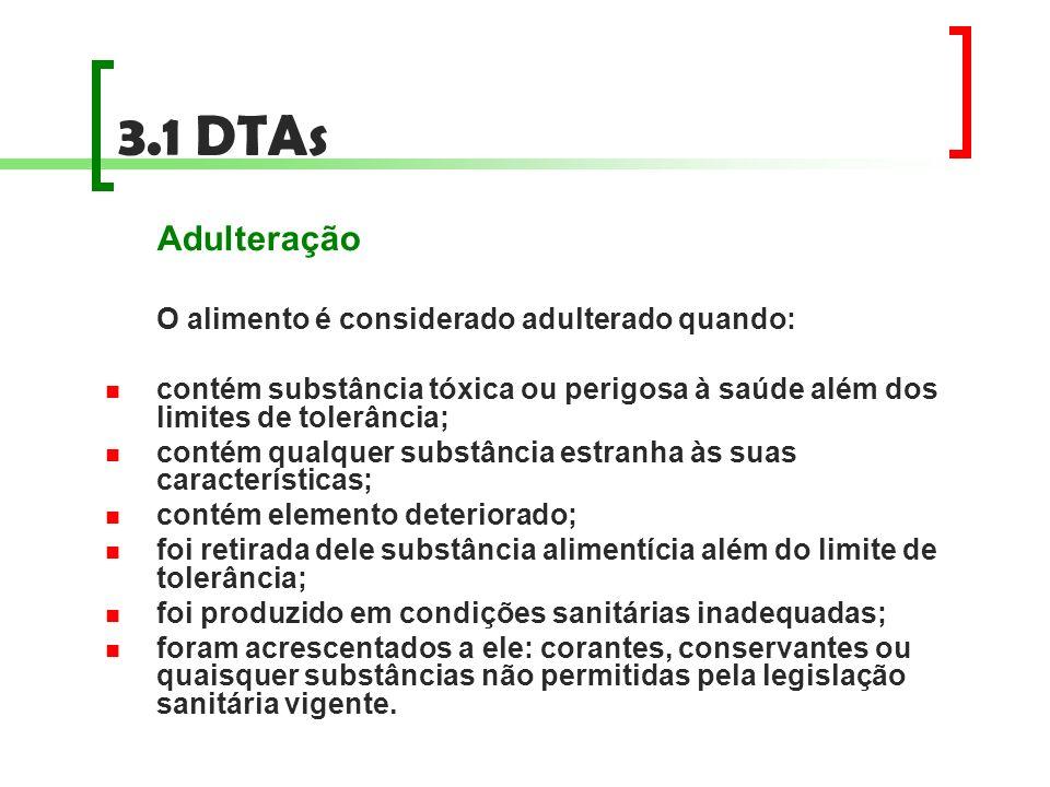 3.1 DTAs Adulteração. O alimento é considerado adulterado quando: contém substância tóxica ou perigosa à saúde além dos limites de tolerância;