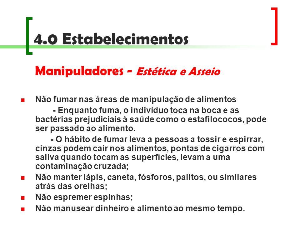 4.0 Estabelecimentos Manipuladores - Estética e Asseio