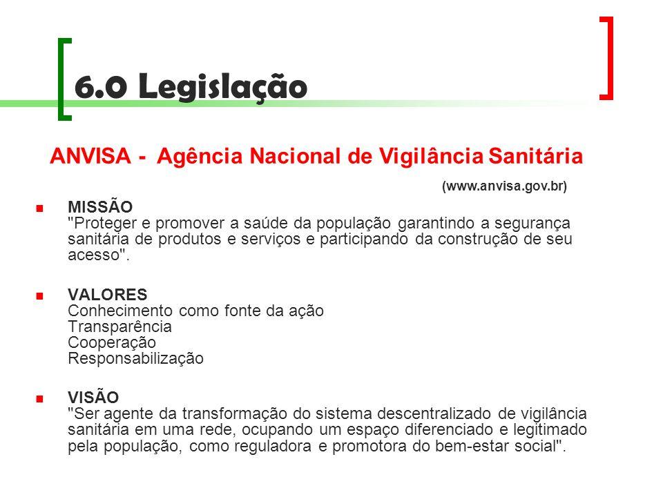 6.0 Legislação ANVISA - Agência Nacional de Vigilância Sanitária