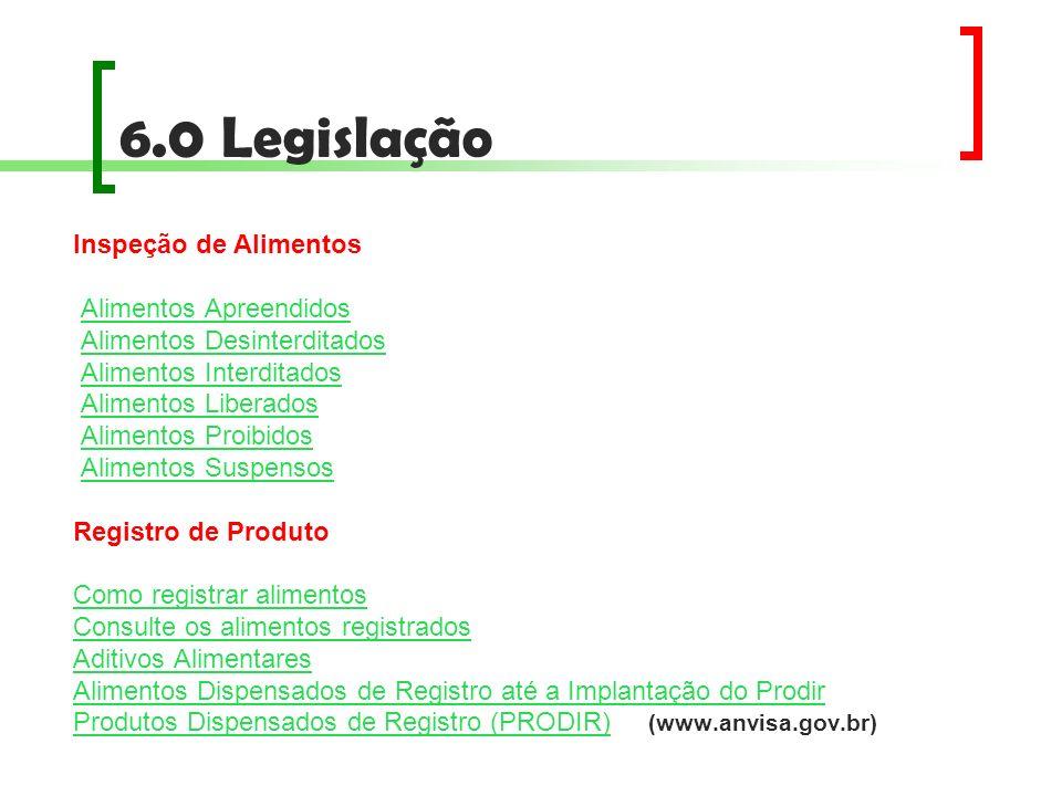 6.0 Legislação Inspeção de Alimentos Alimentos Apreendidos
