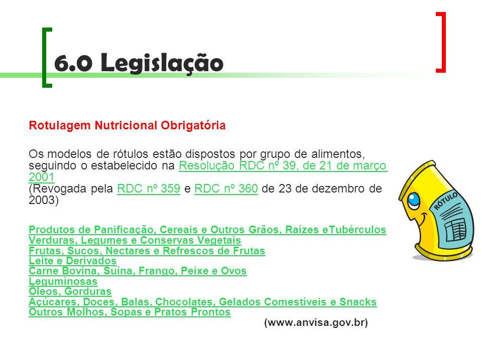 6.0 Legislação Rotulagem Nutricional Obrigatória