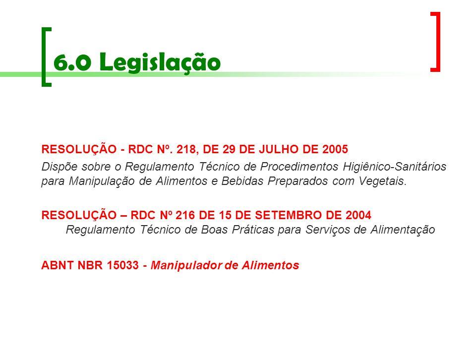 6.0 Legislação RESOLUÇÃO - RDC Nº. 218, DE 29 DE JULHO DE 2005