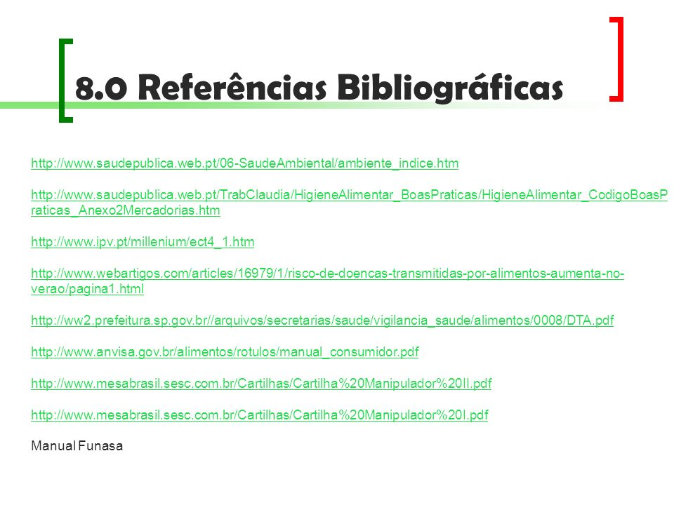 8.0 Referências Bibliográficas