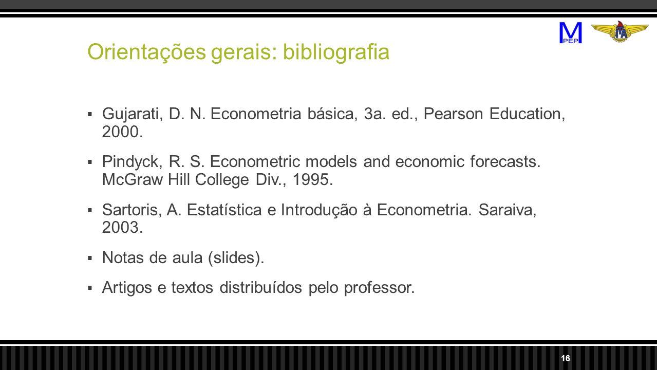 Orientações gerais: bibliografia