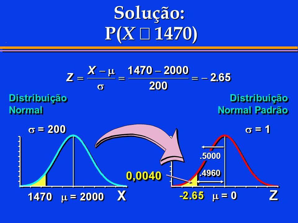 Solução: P(X £ 1470) 0,0040 Distribuição Normal