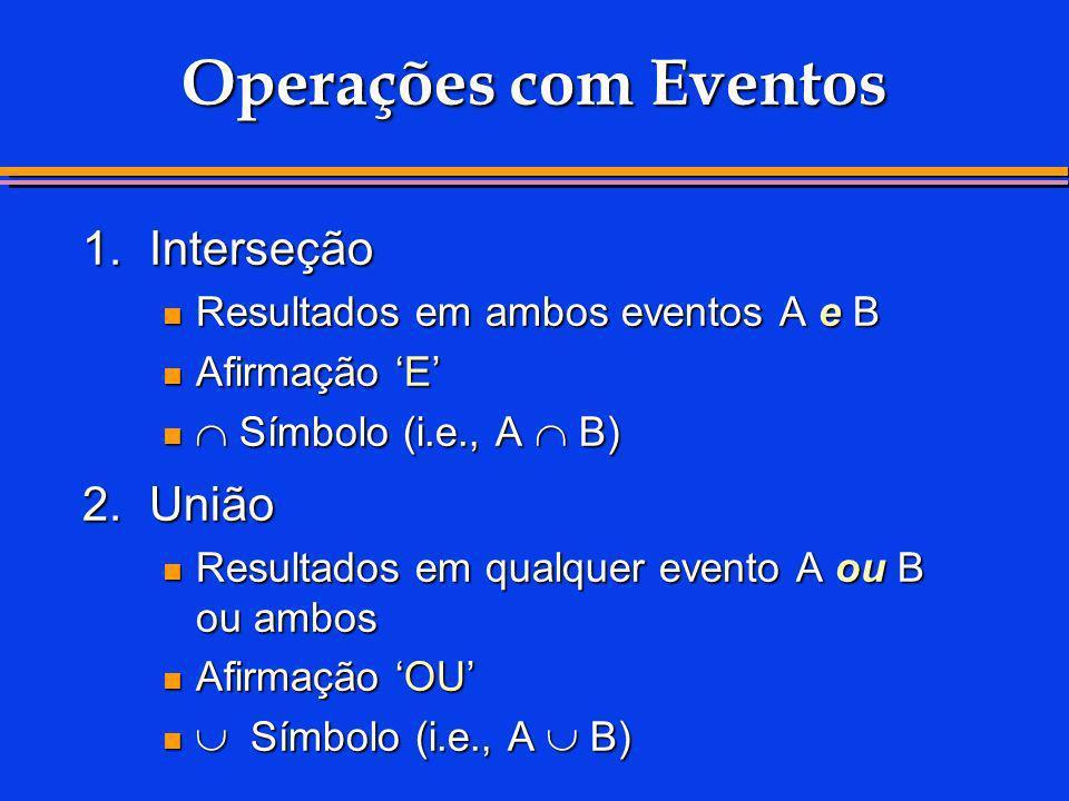 Operações com Eventos 1. Interseção 2. União