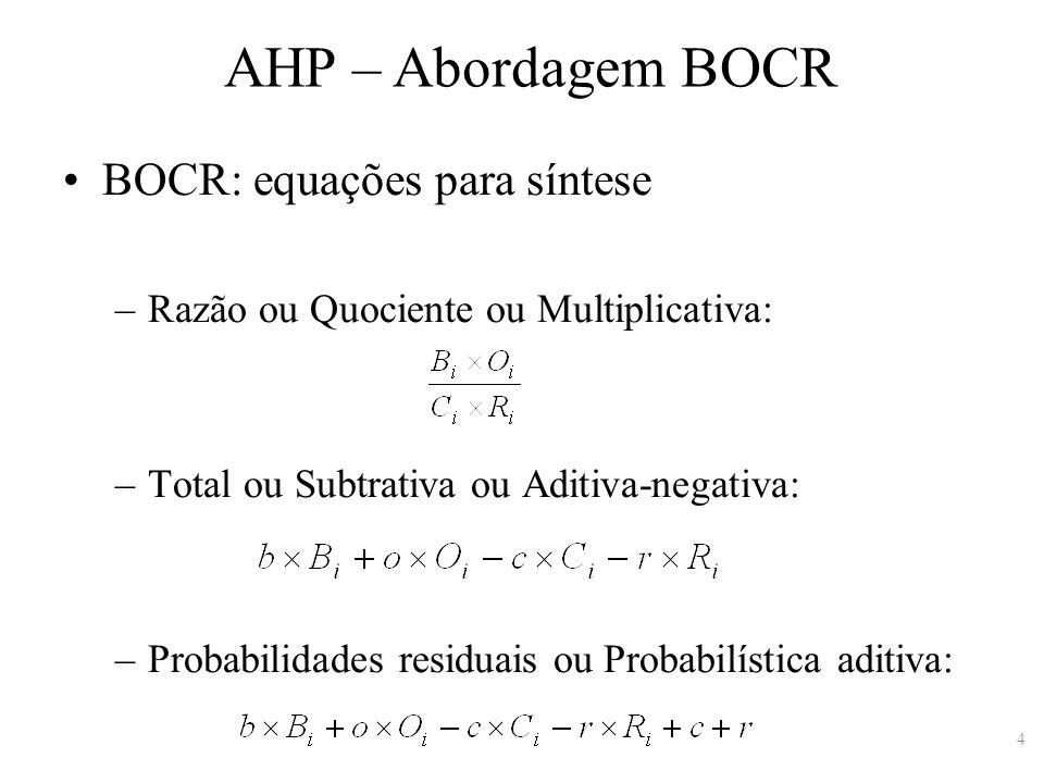 AHP – Abordagem BOCR BOCR: equações para síntese