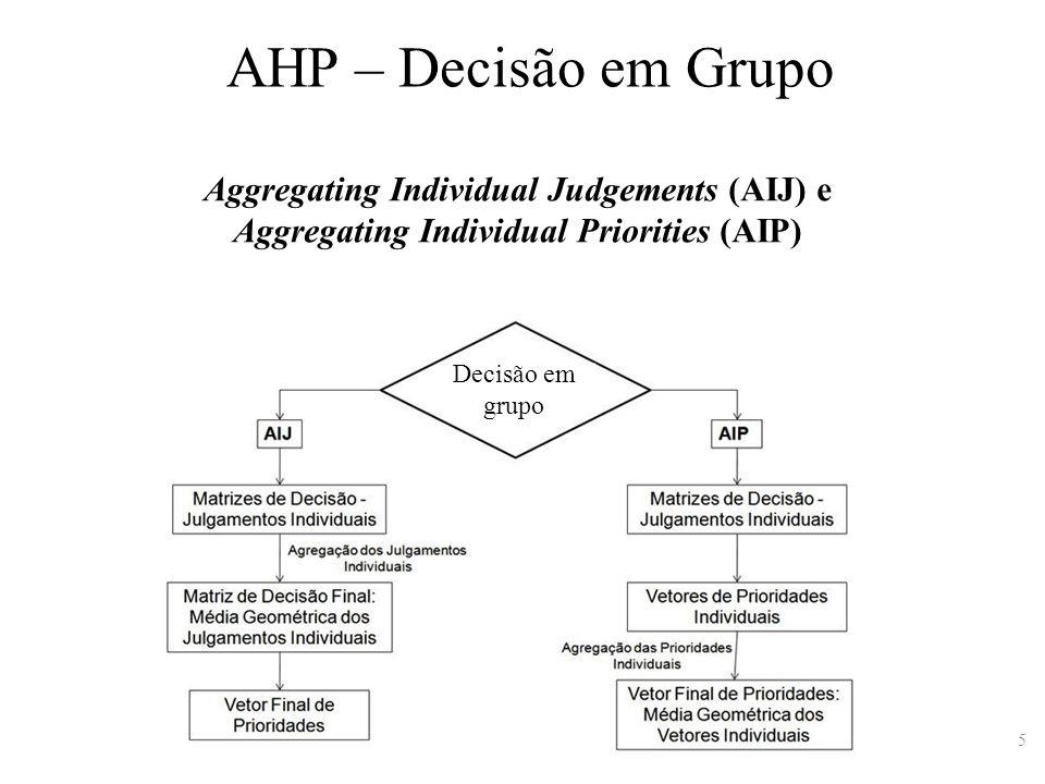 AHP – Decisão em Grupo Aggregating Individual Judgements (AIJ) e