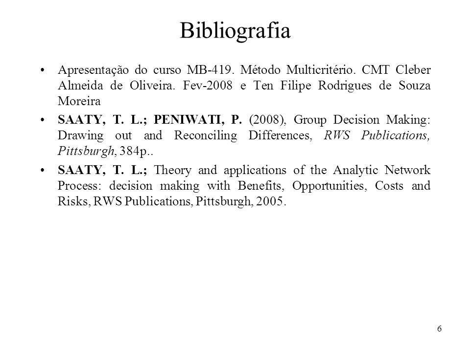 Bibliografia Apresentação do curso MB-419. Método Multicritério. CMT Cleber Almeida de Oliveira. Fev-2008 e Ten Filipe Rodrigues de Souza Moreira.
