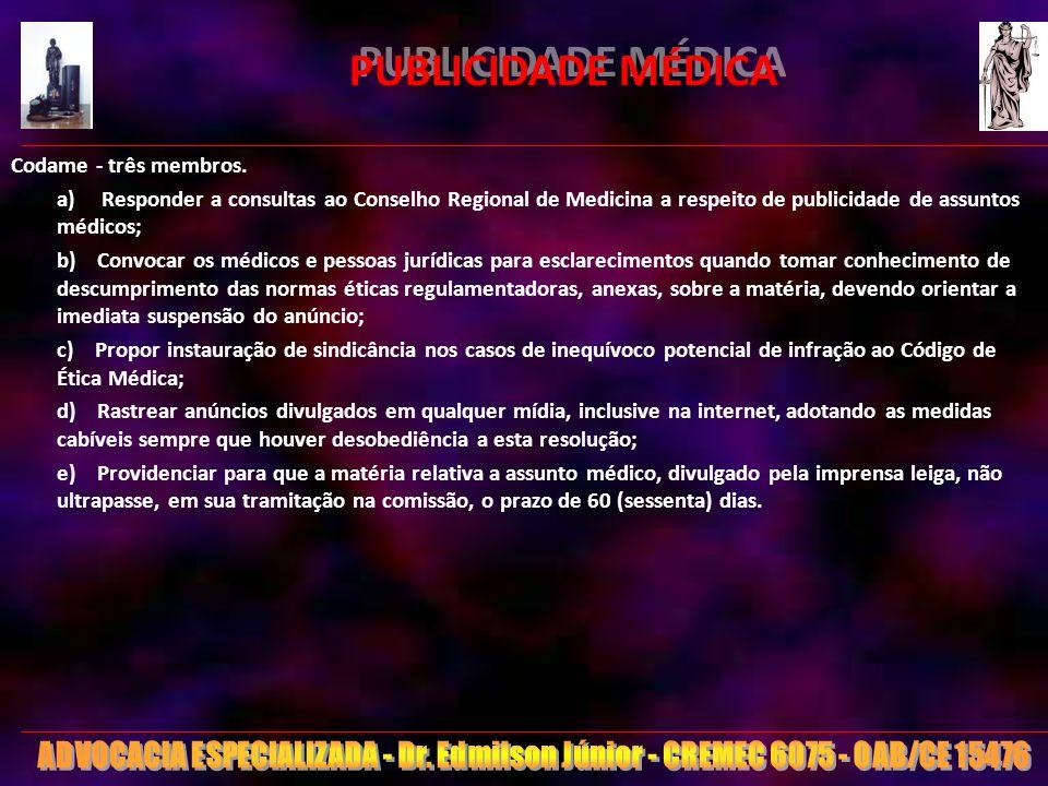 PUBLICIDADE MÉDICA Codame - três membros.