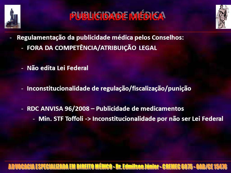 PUBLICIDADE MÉDICA Regulamentação da publicidade médica pelos Conselhos: FORA DA COMPETÊNCIA/ATRIBUIÇÃO LEGAL.
