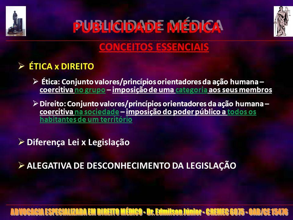 PUBLICIDADE MÉDICA CONCEITOS ESSENCIAIS ÉTICA x DIREITO
