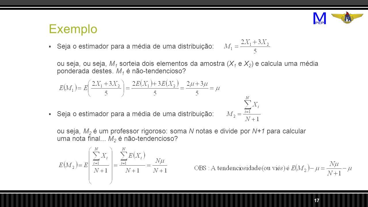 Exemplo Seja o estimador para a média de uma distribuição: