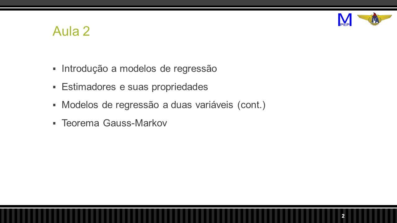 Aula 2 Introdução a modelos de regressão