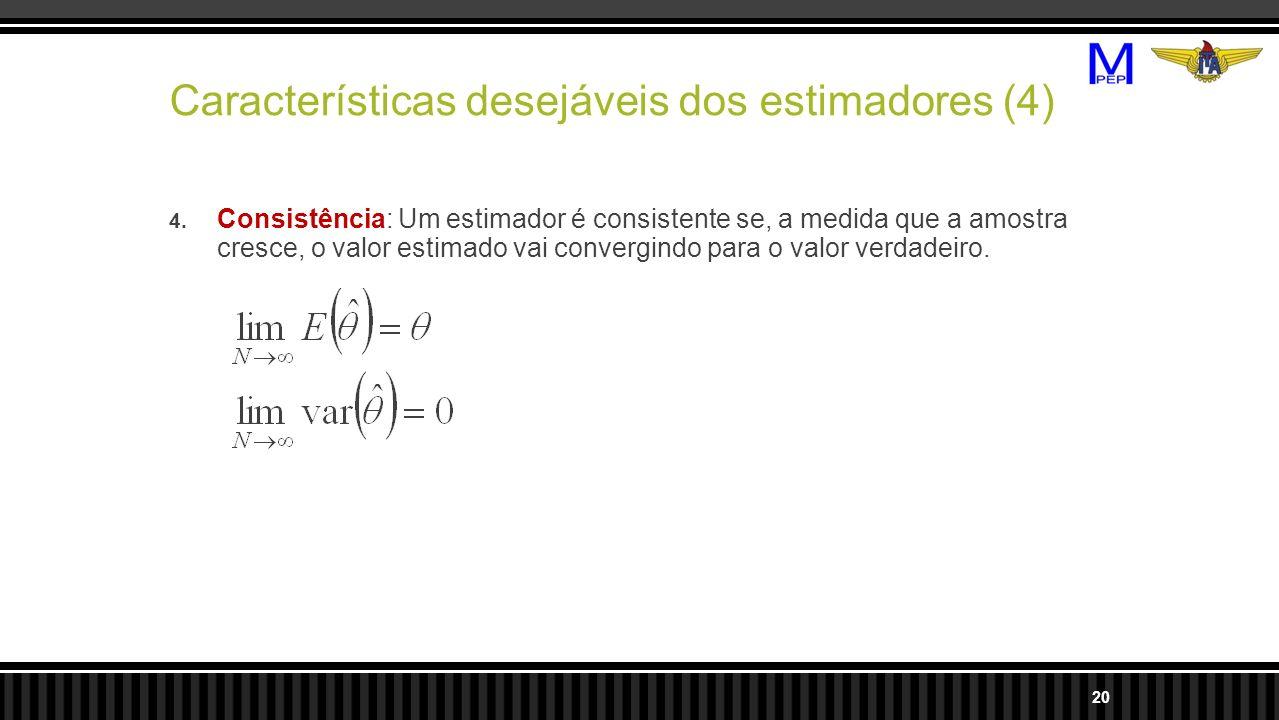 Características desejáveis dos estimadores (4)