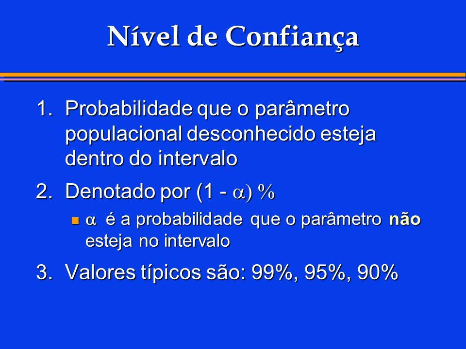 Nível de Confiança 1. Probabilidade que o parâmetro populacional desconhecido esteja dentro do intervalo.