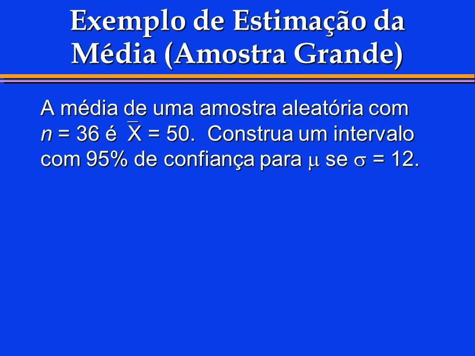 Exemplo de Estimação da Média (Amostra Grande)