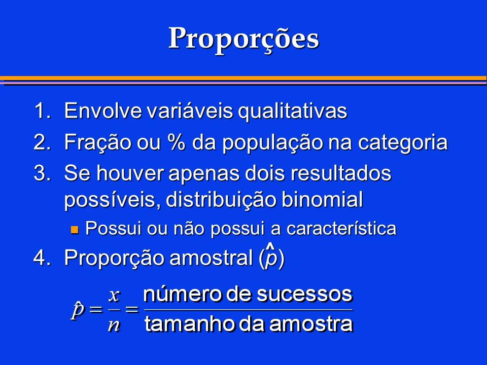 Proporções 1. Envolve variáveis qualitativas