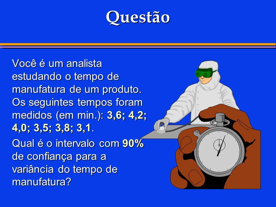 Questão Você é um analista estudando o tempo de manufatura de um produto. Os seguintes tempos foram medidos (em min.): 3,6; 4,2; 4,0; 3,5; 3,8; 3,1.