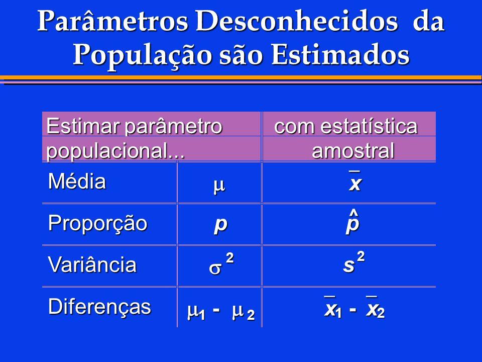 Parâmetros Desconhecidos da População são Estimados